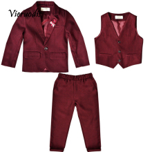 New Style Red Wedding Boys Suit Three Piece Page Boy Suit Holy Communion Outfits 3 piece set 2 pcs black boy suits page boy wedding suit prom suit holy communion boys outfits 2 pcs