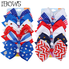 5 4TH Of July Jo jo Bow Set Independence Day Hair Clips For Girls 6PCS Dot Striped Bows Handmade Kids Accessories