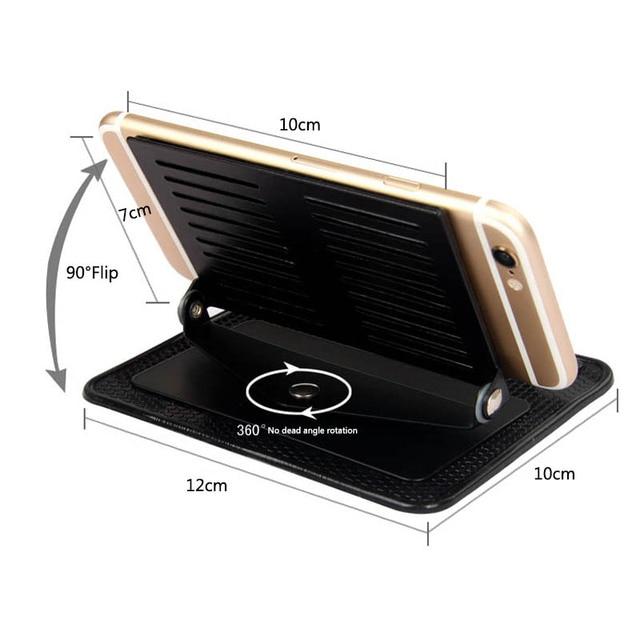 Car Ornament Silicone 360 Rotating Phone Holder Non-Slip Mat Automobile Dashboard Adjustable Angle Anti Slip Mat Car Gadget