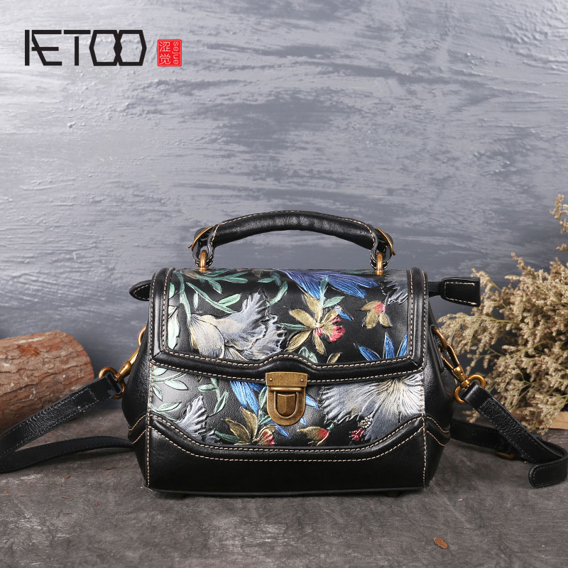 AETOO New small square bag retro leather handbags hand-painted first layer of leather shoulder bag ladies handbag bag female new genuine leather handbags first layer of leather shoulder bag korean zipper small square bag mobile messenger bags