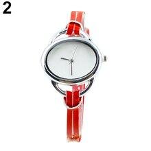 Women's Fashion Oval Slim Faux Leather Analog Quartz Bracelet Wrist Watch 1MYX