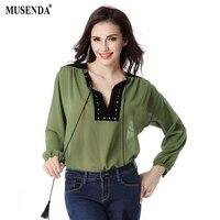 Women Spring Summer Thin Chiffon Shirts Fashion Casual Black Rivet V Neck Patchwork Tops Long Lantern