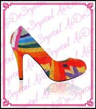 Aidocrystal rainbow glitter strass pumpen kristall schuhe high heels frauen