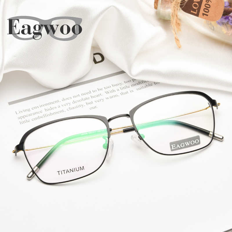 Titanium Eyeglasses Men Prescription Optical Frame Slim Wire Temple Super Light Spectacle Vintage Nerd Style Eyebow Frame 82508