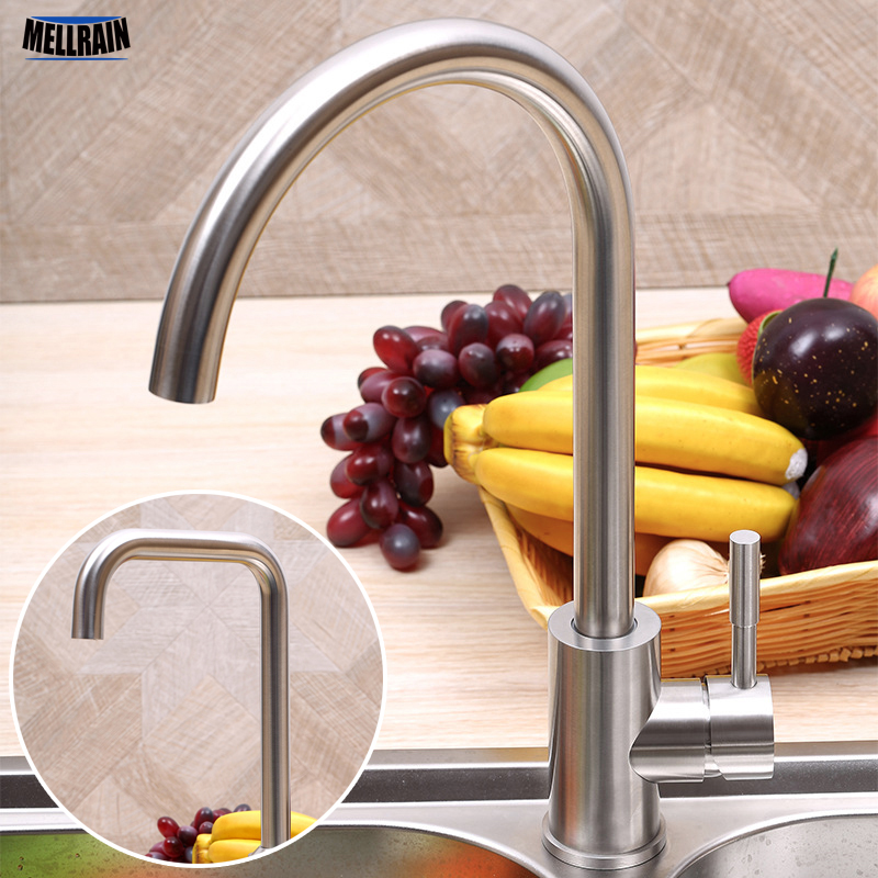 304 stainless steel material brushed sink rotation mixer kitchen faucet high quality kitchen water tap 2 styles choice цена 2017