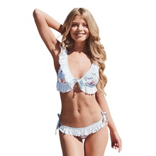 Купить с кэшбэком New Women Floral Print Lace Up Swimsuits Push Up Sexy Ruffle Micro Bikini Set Bathing Suits Swimwear maillot de bain femme 2018