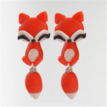100% Handmade Polymer Clay Animal Earrings Cute Cat Red Fox Lovely Panda Squirrel Tiger Stud Earrings for Women Jewelry