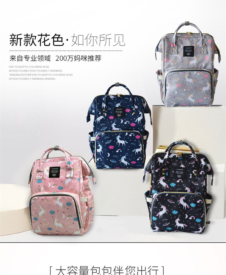 Lequeen Mommy Backpacks Nappies Bags Unicorn Diaper Bags Backpack Maternity Large Volume Outdoor Travel Bags Organizer MPB28