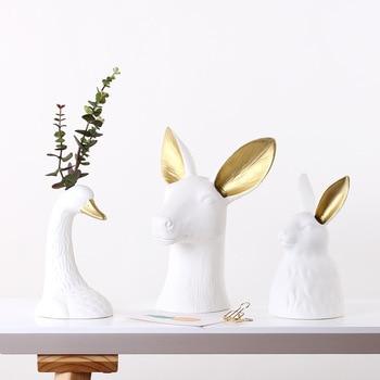 Nordic Creative Deer Flower insert Ceramics Animal Vase Decoration Sample room Entrance TV cabinet Adornment Home Crafts Gift