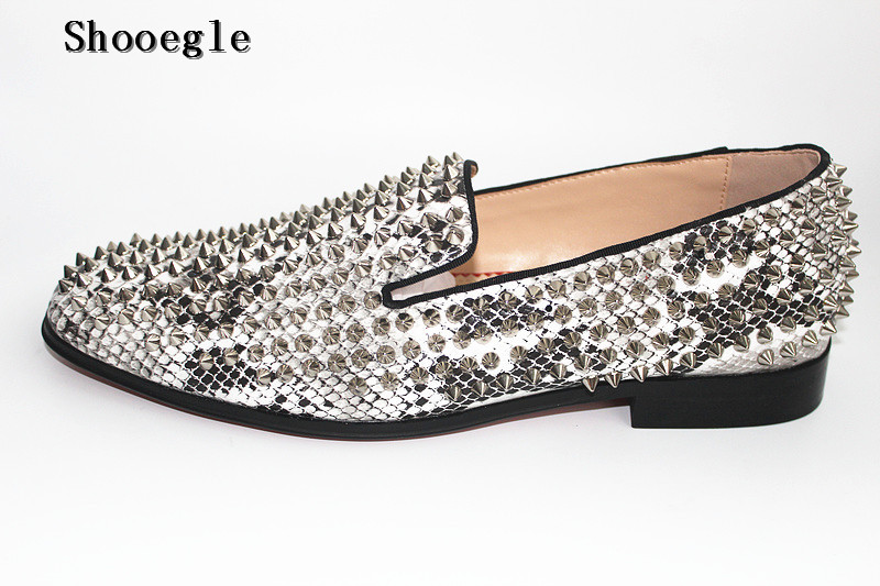 SHOOEGLE Snakeskin Spikes Shoes Men Slip-on Loafers with Rivets Low Heeled Men's Flats Shoes Driving Moccasins Mens Espadrilles 100pcs lot 6colors 12mm round spikes fashion pop rivets stud hardware w screw for bags shoes wallets belts