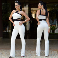 Macacao Flare Branco Women Cross Halter Neck White And Black Color Block Sexy Cut Out Summer