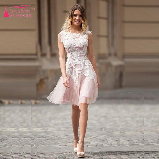 Ivory Lace Appliques Pink Cocktail Dresses Short Knee Length Elegant Open Back Lace Up Party Dress vestido de festa curto