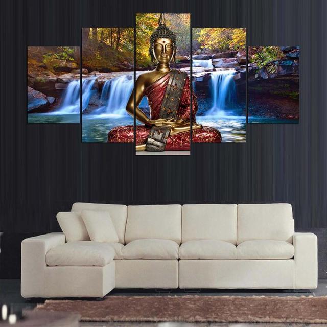 Pitture Murali Pittura 5 Pannello astratta Buddha Paesaggio Quadro ...