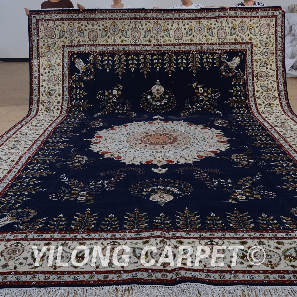 Yilong 11'x15' Oriental wool rug black and beige exquisite wool silk persian thick carpet (1513)