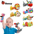 Sozzy Baby Rattles with mirror Soft Baby Cute Animal Toys Gentle Rattle Squeaker Sound Plush Rod BB Sounder