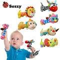 Sozzy chocalhos do bebê com espelho soft toys squeaker som suave chocalho do bebê animal bonito de pelúcia vara bb sounder