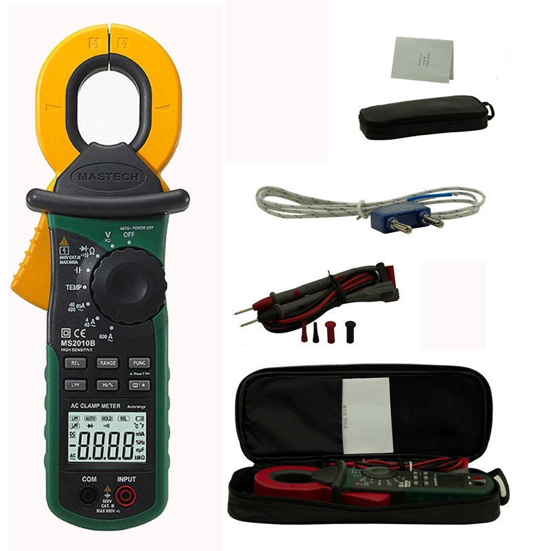MASTECH MS2010B Digital Clamp Meter AC/DC Mini Handheld Voltage Current Resistance Tester Multimetro with Test Leads Multimeter clip on ammeter digital clamp meter current voltage resistance test clamp meter