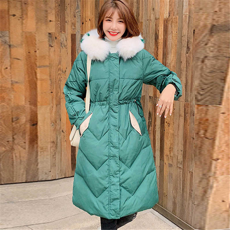 6303d6e16 Down Jacket Women Winter Long section Korean Loose large fur collar 2019  New Casual wild White duck Down Thick Down Coat P048