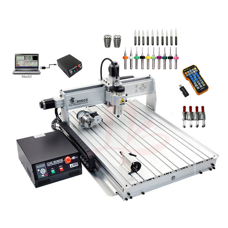 Russia tax-free shipping USB mini CNC router 8060 2200w 4 axis CNC engraving machine with ball screwRussia tax-free shipping USB mini CNC router 8060 2200w 4 axis CNC engraving machine with ball screw