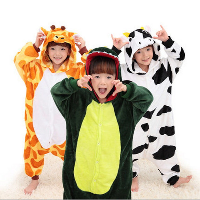 20 Style 2-11Y  Winter Children Flannel Animal pajamas Kid Clothes Cute pyjamas Hooded Romper Sleepwear Without Shoes