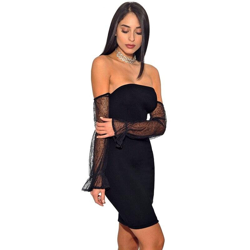 2018 Для женщин осень пикантные черные сапоги без бретелек сетки платье клуба с плеча рукав стрейч повязку мини платье - 2