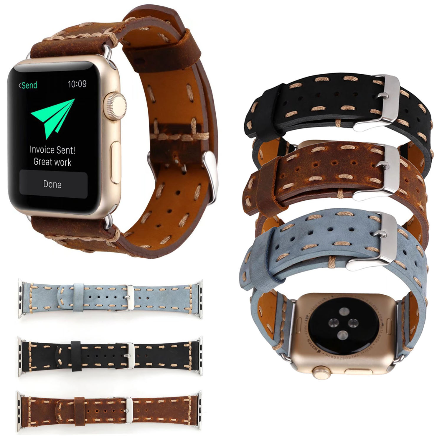 Stitching Leather Watch Bracelet For Apple Watch Band 42mm 38mm iWatch Watch Accessories For Apple Watch Strap Watchband eastar genuine leather bracelet for apple watch band 42mm 38mm iwatch watch accessories for apple watch strap watchband