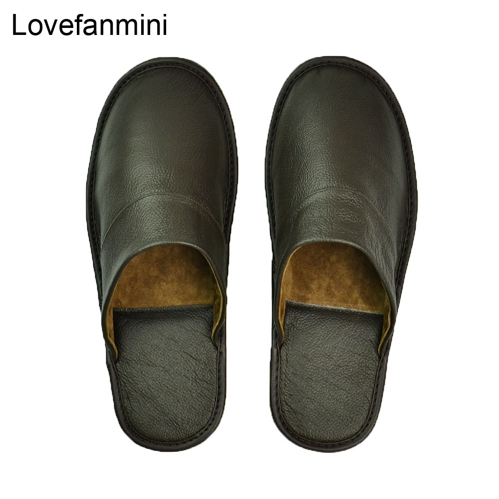 Genuine Cow Leather Slippers Couple Indoor  Non-slip Men And Women Home Fashion Casual Single Shoes PVC Soft Soles Spring Autumn