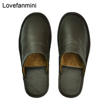 slippers men big sizes Genuine Cow Leather home male indoor house  for Mens slippers women man slipper Luxury soft  Flat shoes