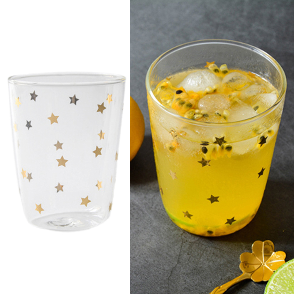 390ML Heat Resistant Glass Mug Breakfast Coffee Cup Golden Stars Milk Mug Thicken Juice Drinking Cup For Home Office Restaurant in Mugs from Home Garden