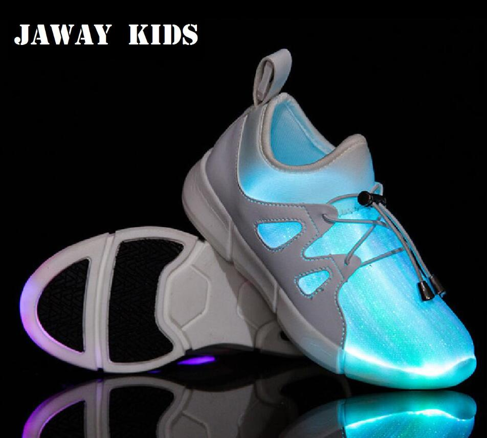 JawayKids 25-46 New Fiber Optic Shoes for Children,men and women Glowing Sneakers Kids Led Shoes USB chargeable light up Shoes