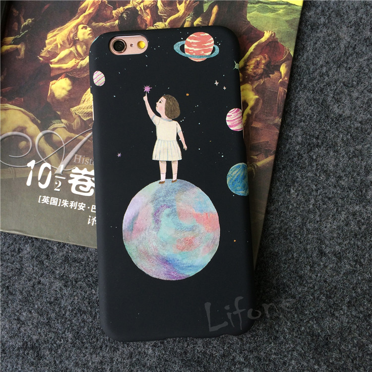 Half-wrapped Case Kerzzil Stars Cosmos Cute Girl Phone Case For Iphone 7 8 6s Pc Hard Plastic Frosted For Iphone 6 8 7 Plus Cover Back Coque Shell Phone Bags & Cases