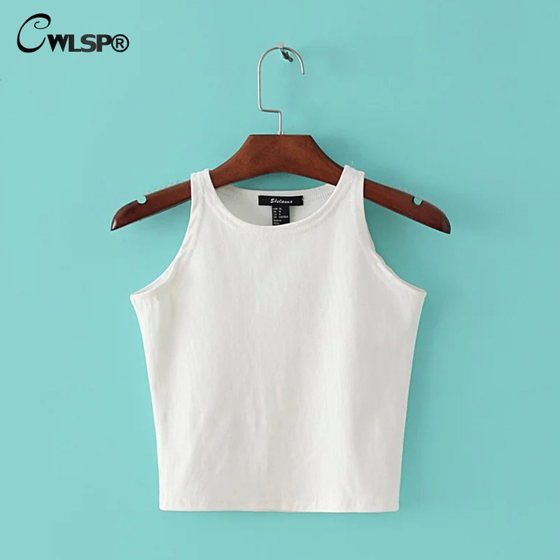 CWLSP 2018 Summer Solid Crop Top For Women Sheath O-neck Tanks Short Top Sexy Confortable Female Vest QZ2665