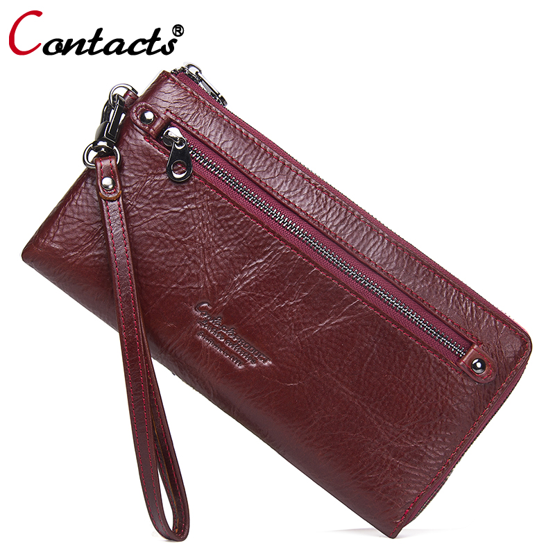 Contact's Brand Card Holder Women Wallet Leather Genuine Wrist Strap Clutch Female Wallet Money Bag Coin Pocket Walet Coin Purse brand wallet fashion women wallet double zipper female clutch purse froasted pu leather money case coin pocket card holder