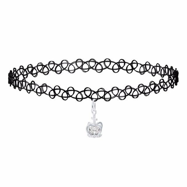QIMING New Fashion Plastic Stretch Elastic Tattoo Choker Necklace Black  Color Silver Princess Crown Charm Necklace 5b0ee86b56e5