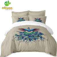 Colorful Animal Pattern Bedding Set Peacock Print Duvet Cover Set Twin Full King Queen Quilt Cover Pillowcase Home Textile S20