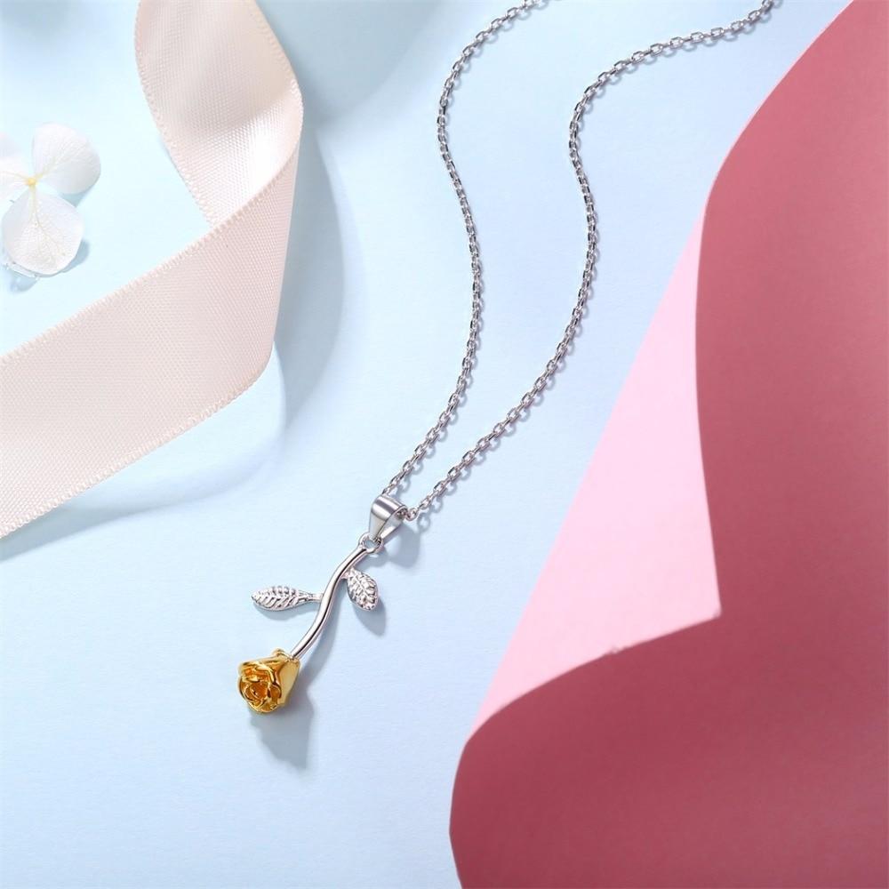 4070a6a14101 Compre Silvercute 925 Sterling Silver Yellow Rose Colgante De Collar ...