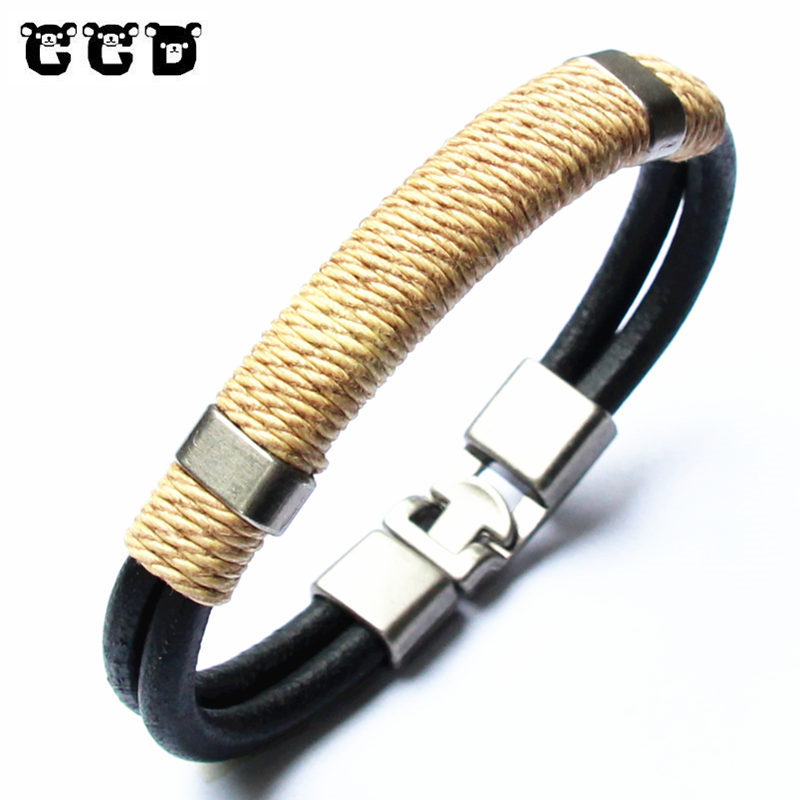 2018 Genuine Leather Bracelet Men's Bangle Fashion Retro Punk Charm Jewelry For Women Hand Woven Bracelet For Male Accessories