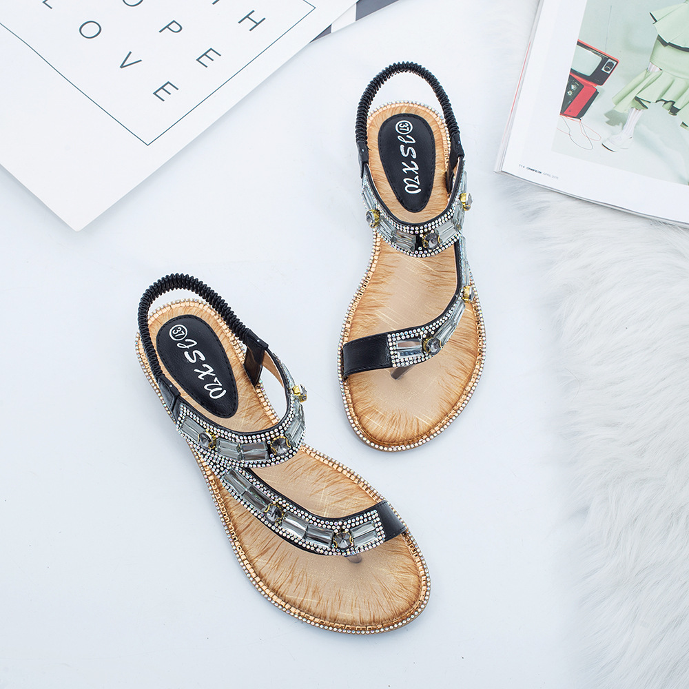 Image 4 - Gykaeo Ladies Summer Shoes Bohemian Style Blue Red Fashion Sandals Women Lattice Stripe Flat soled Beach Shoes Zapatos De Mujer-in Women's Sandals from Shoes