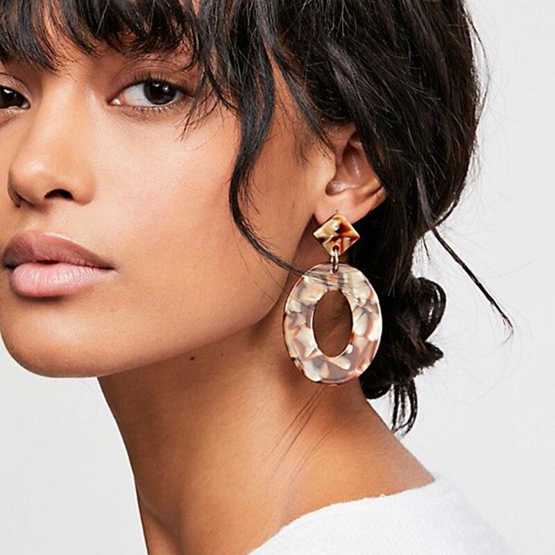 2019 Fashion ZA Jewelry Acrylic Resin Oval Dangle Earrings For Women Geometry Big Circle Tortoiseshell Earrings Acetate Brincos