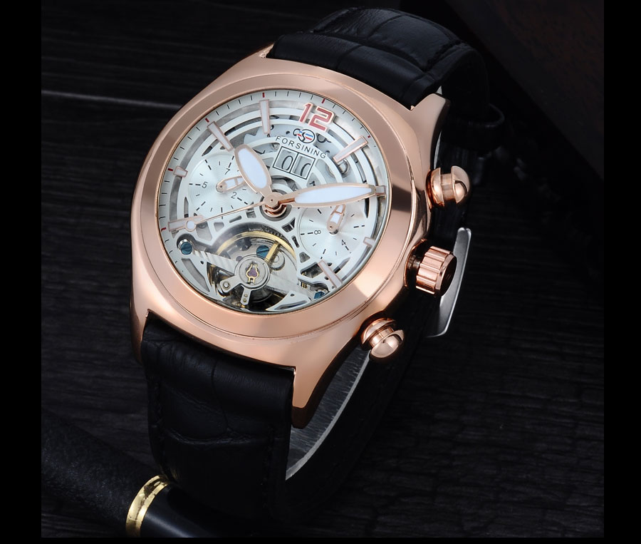 Forsining Convex Glass Stylish Tourbillion 3D Genuine Leather Strap Mens Watches Top Automatic Watch Clock (8)