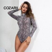 1066df39 COZARII Python pattern Bodysuit Long Sleeve Sexy Bodysuit Snake Summer  Overalls Body for women Combinaison Femme Blusa Salopette