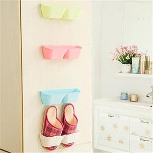 Wall Hanging Sticky Display Shelf Shoes Organizer Closet Holder Storage Rack Door Hanging Holder Space-saving