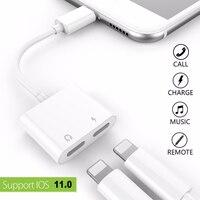 Двойной разъем аудио адаптер для iPhone 7/8/x suppore IOS 11 зарядки музыку или вызова для молнии наушников аудио адаптер конвертер