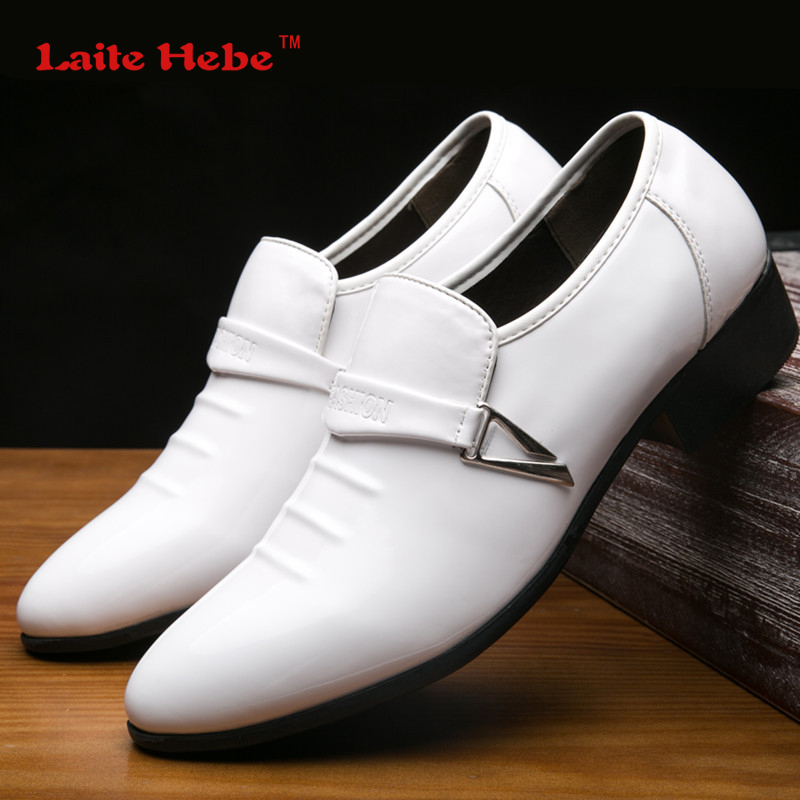 LaiteHebe Men's Flats Loafers shoes Mens Leather Oxford Men Buckle Shoe Formal White Men Dress Luxury Shoes Brand Big Size 38-48