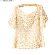 Summer style short sleeve off shoulder tops women flower crochet lace blouses mori girl