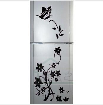 Pegatinas refrigerador vinilo decorativo flor de mariposa for Pegatinas vinilo pared