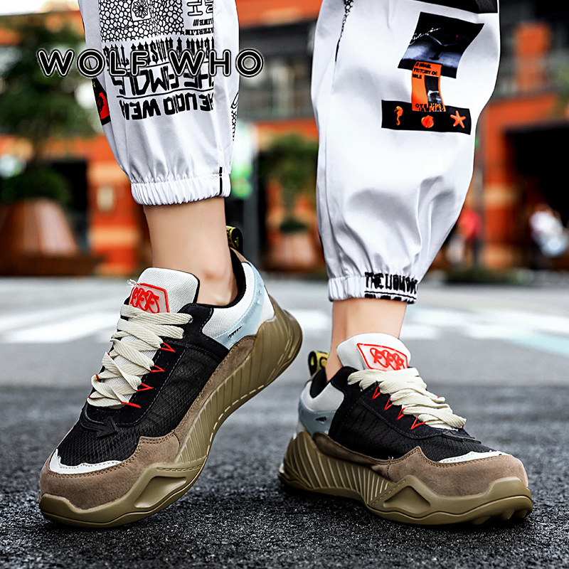 WOLF WHO Men Chunky Sneakers Trend Thick Sole Dad Shoes Man Lace Up Patchwork Multi Height Increas Handsome Male Sneakers X-007