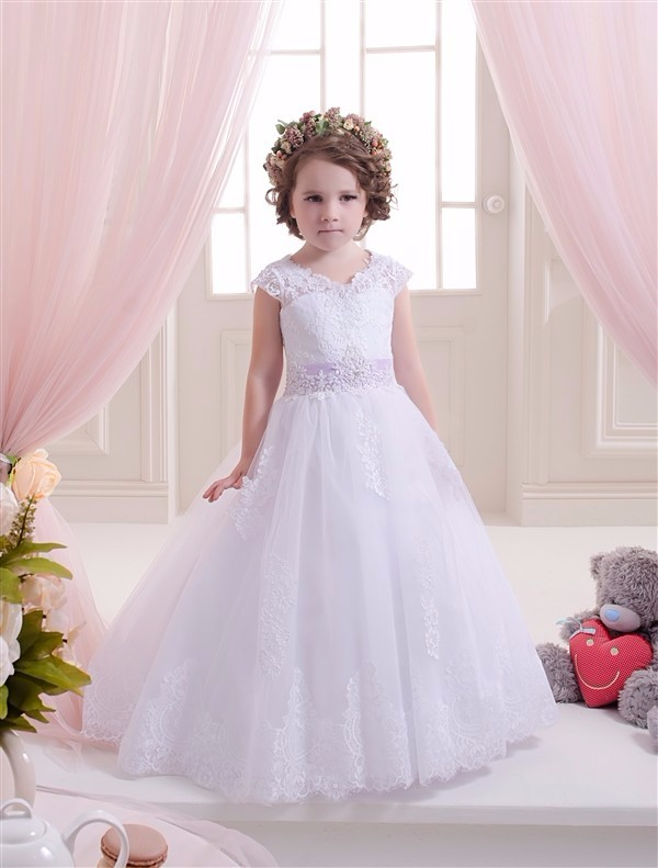 2019 High Quality White Lace   Flower     Girl     Dresses   with Appliqued Beaded Belt Communion   Dresses   Pageant   Dresses   for Little   Girls