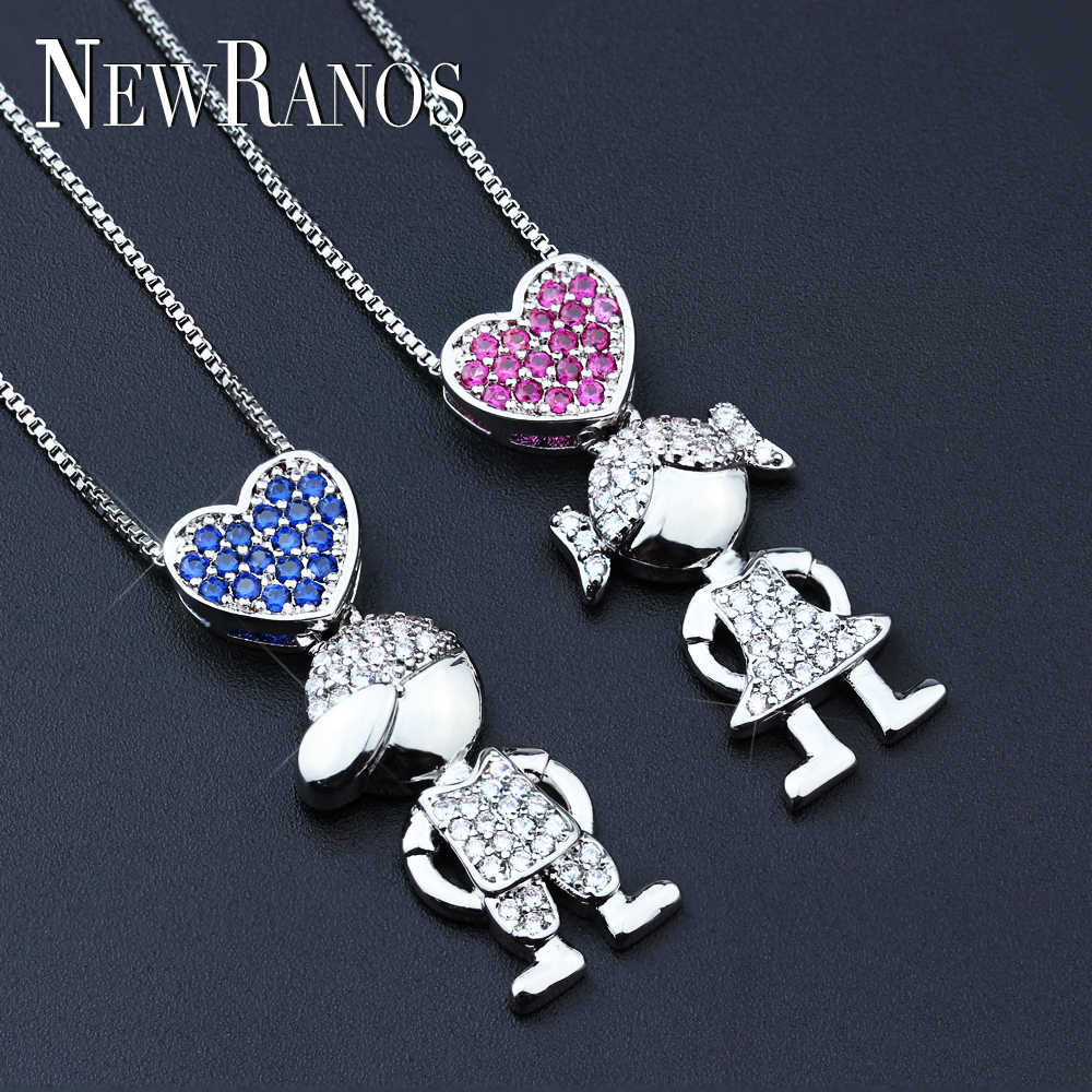 Family Necklaces Jewelry Love Boy Girl Pendant Choker Necklace Shiny cubic zirconia necklace Meaning Women Gift NFX001282