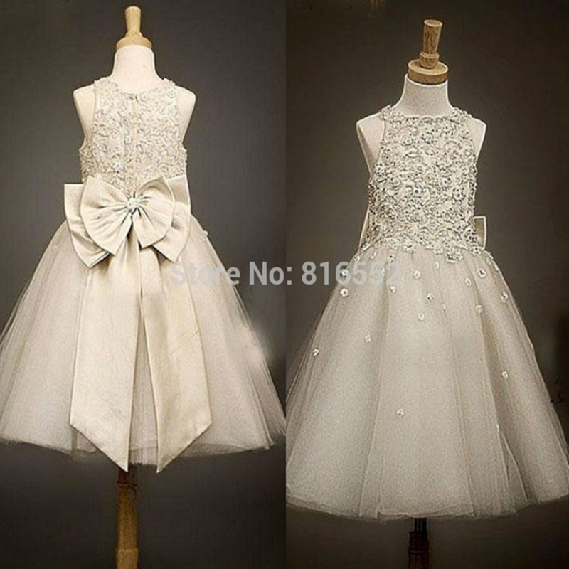 New Scoop Cute Lace   Flower     Girl     Dresses   2019 Ball Gowns Tulle Bows Appliques   Girls   Pageant Gown Vestido De Daminha QA857